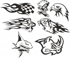 Car Decals Set Free Vector