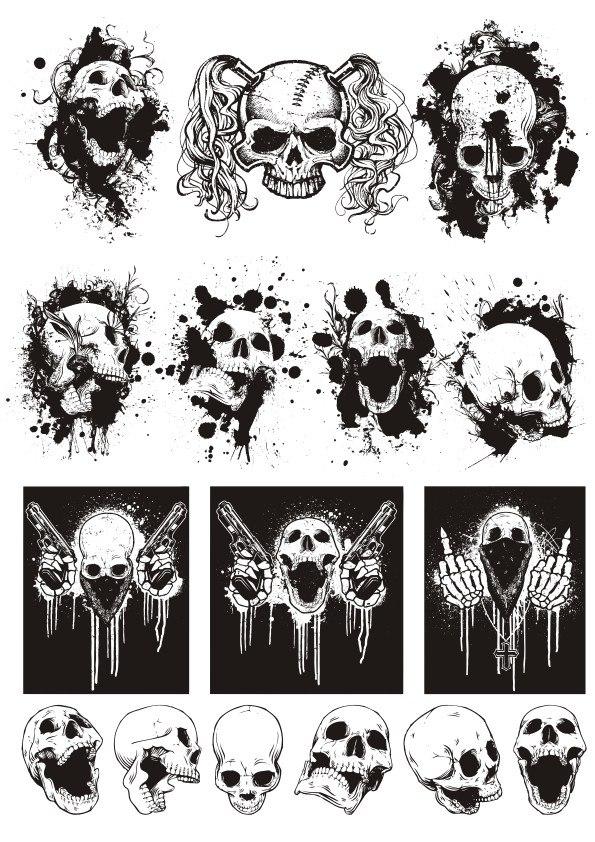 Skull T-shirt designs logos vector set CDR File