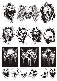 Skull T-shirt designs logos vector set Free Vector