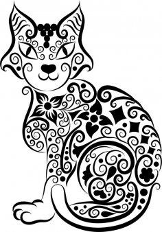 Cat Vector Line Art Free Vector