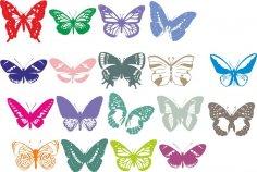 Butterflies Vector Set Free Vector