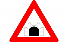 Road Sign Tunnel ahead dxf File