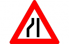Road Narrow Sign On The Left dxf File