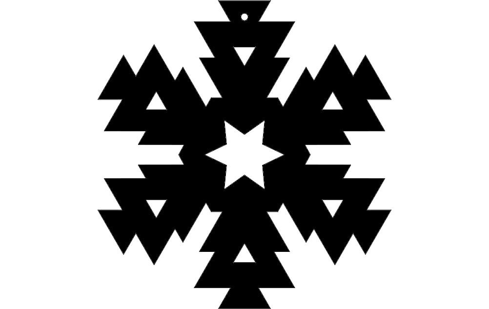 Snowflake Design 6 dxf File