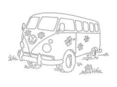 Flower Power Vw camper van dxf File