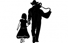 Cow boy daughter dxf File