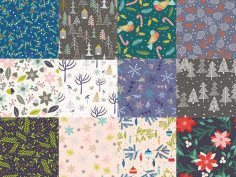 Winter Patterns Collection Free Vector