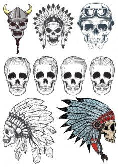 Skull Vector Art Pack CDR File