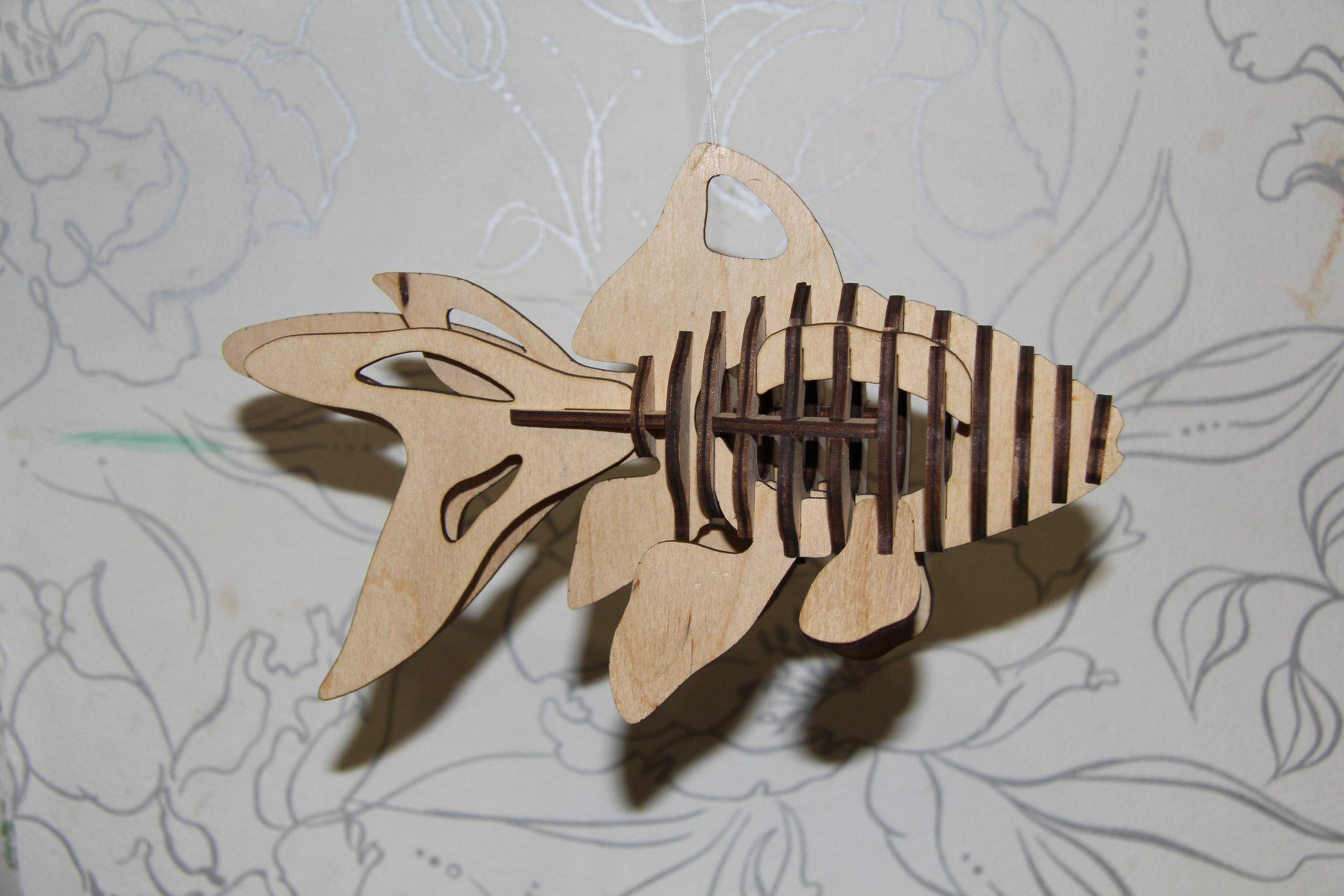 Fish 3D Puzzle Laser cut Pattern Free Vector