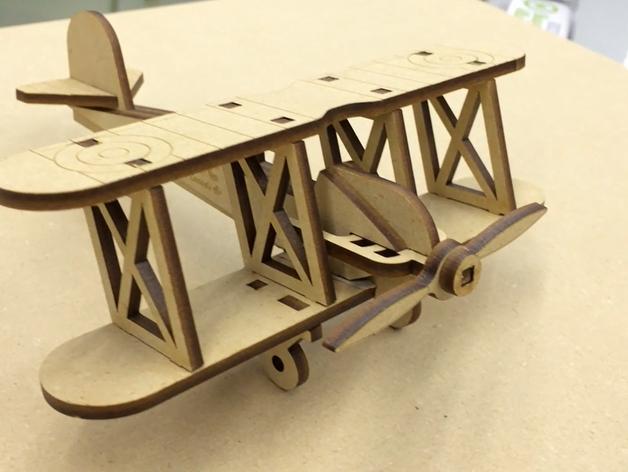 Bi Plane 0.125in Wooden Toy Airplane Laser Cut Free Vector