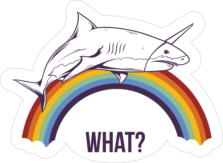 What Shark Sticker Free Vector