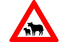 Road sign warning of sheep on road dxf File