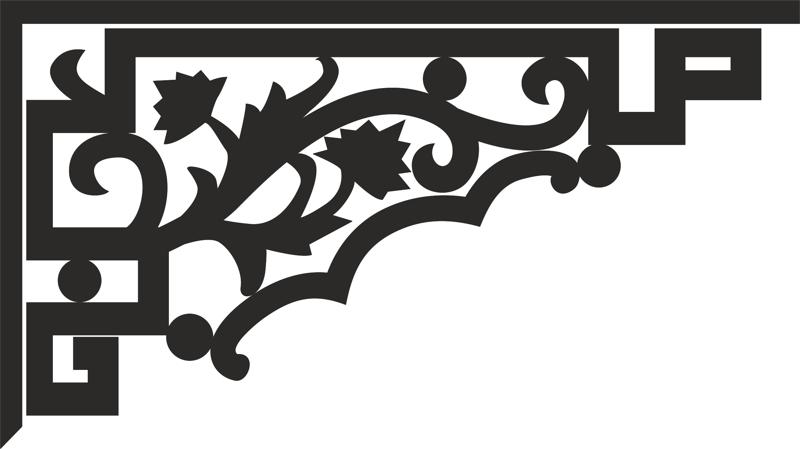 Decorative floral corner dxf File