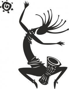 Kokopelli Figure Dancing Vector dxf File
