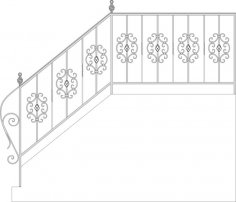 Wrought Iron Stairs Railing, Fence And Grilles Free Vector