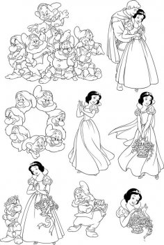 Seven Dwarfs Snow White Wall Decal Free Vector