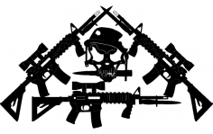 Jared's ar-15's crossed-with Skull dxf File