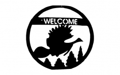 Welcome Bird Scene dxf File