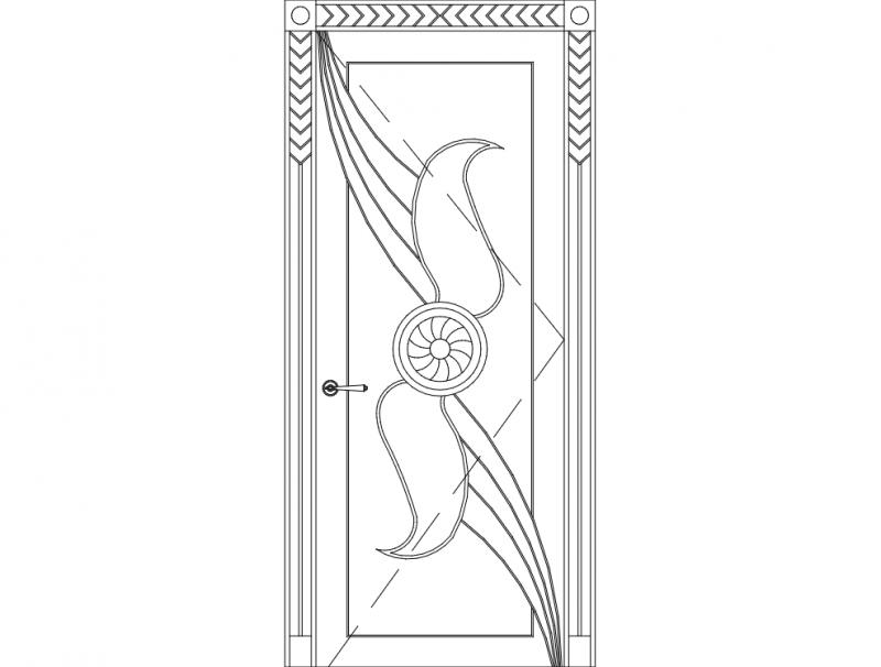 Main Single Door Carving Design dxf File