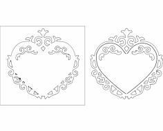Heart Frame 10 dxf File