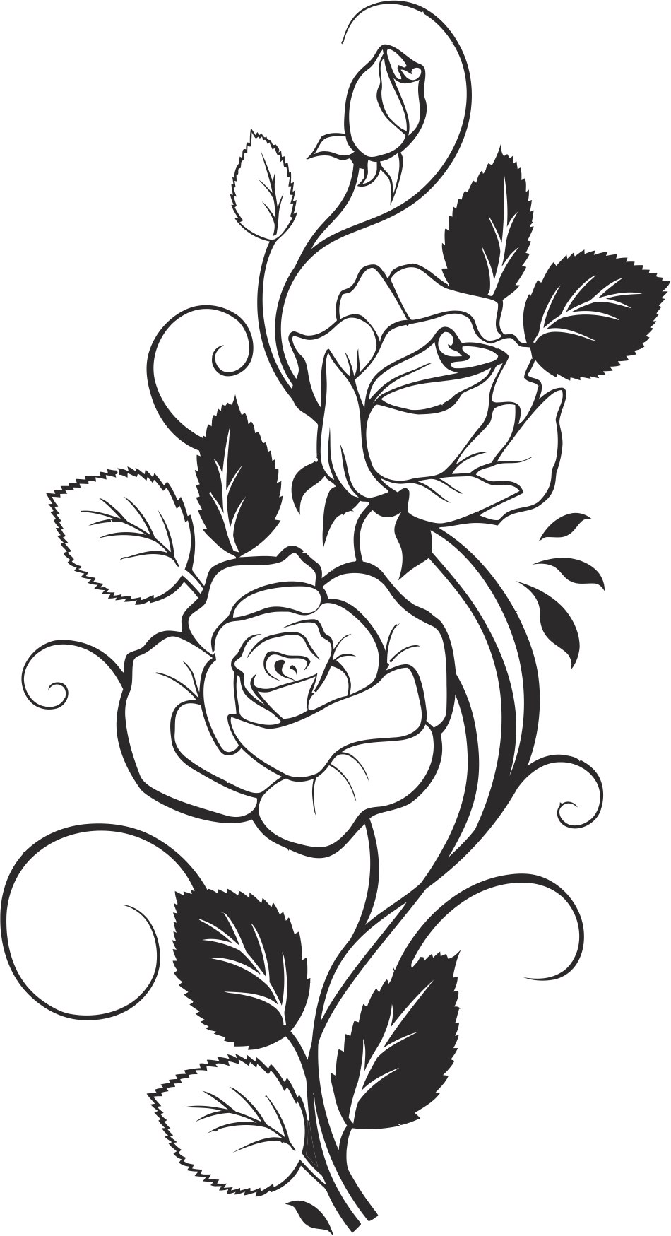 Black and White Rose Vector Free Vector