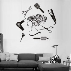 Hair Salon Girl Wall Art dxf File