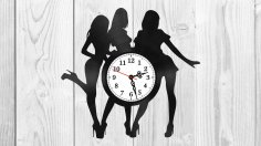 Girls silhouette vinyl record clock Free Vector