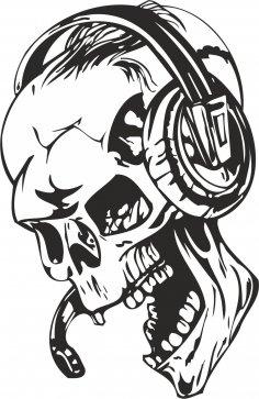Skull with Headphones Sticker Vector Free Vector