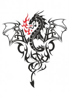 Baby Dragon Tattoo Vector CDR File