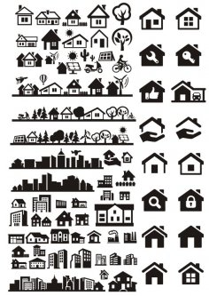 Buildings City Houses Vectors Free Vector