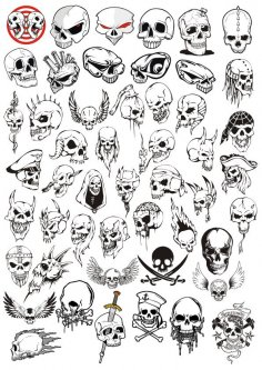 Horror Halloween Skulls Vector Set Free Vector