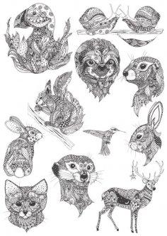 Ornamental animals in boho style vectors Free Vector