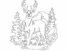 Deer Forest dxf File