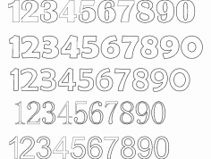 12345 Number Fonts dxf File