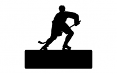 Hockey Player With Name Plate dxf File