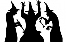 Halloween witch cooking silhouette dxf File