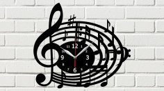 Melody Clock Laser Cut Free Vector