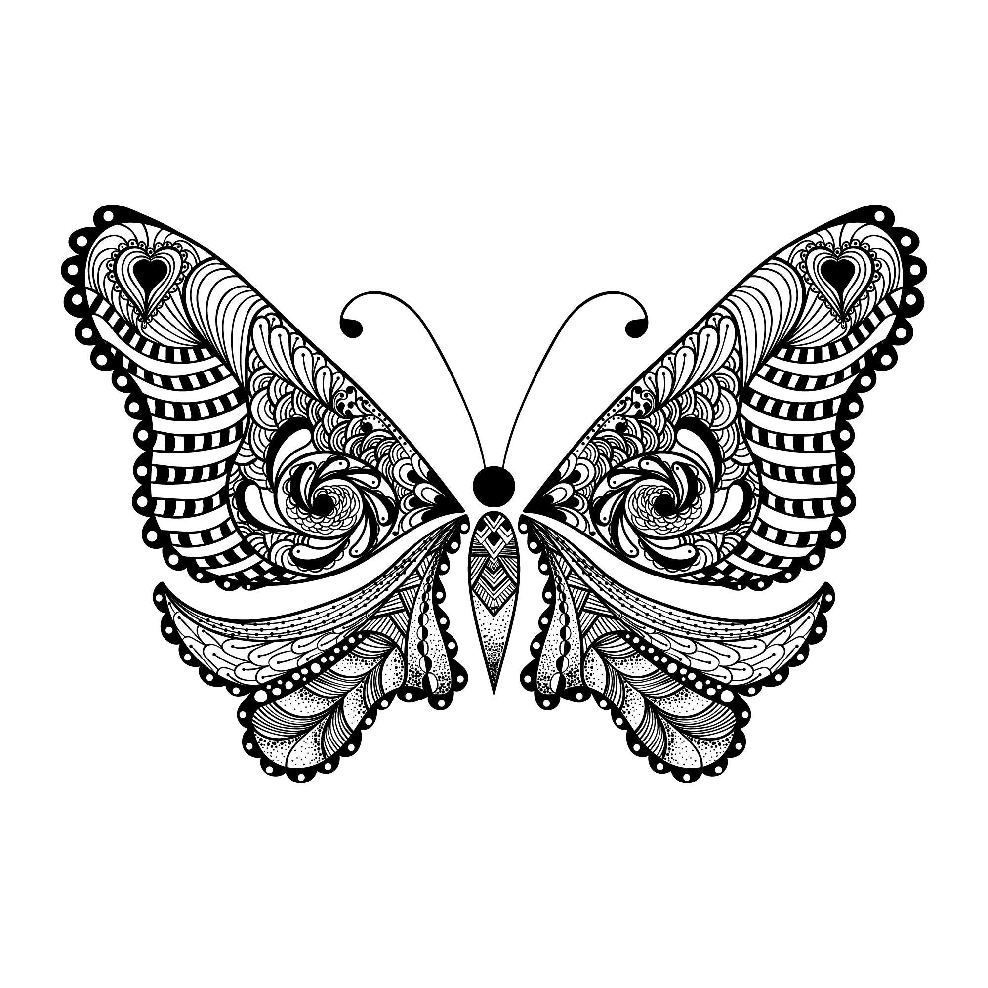 Zentangle Butterfly Free Vector