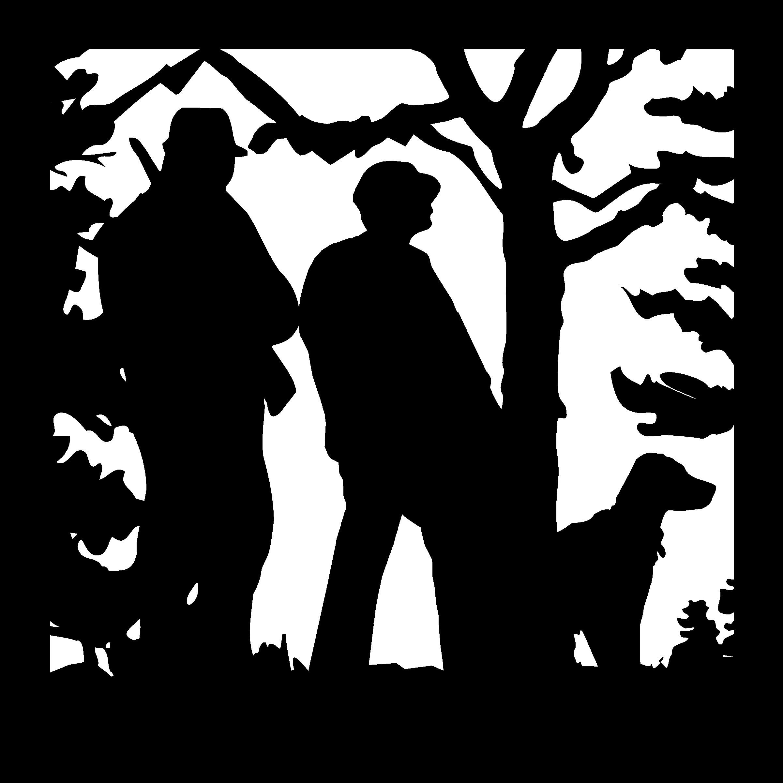 24 X 24 Hunters Dog Mountains Plasma Art DXF File
