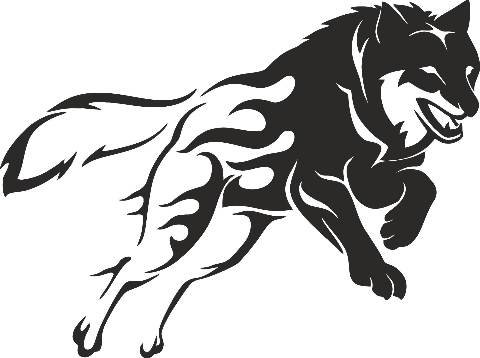 Wolf Stencil Free Vector