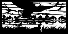 30 X 60 Eagle Squirrel Ducks River Plasma Metal Art DXF File