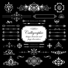 Calligraphic Elements And Page Decoration For Design Free Vector