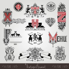 Set Vintage Heraldic Labels And Capital Letter With Pattern And Animals Free Vector