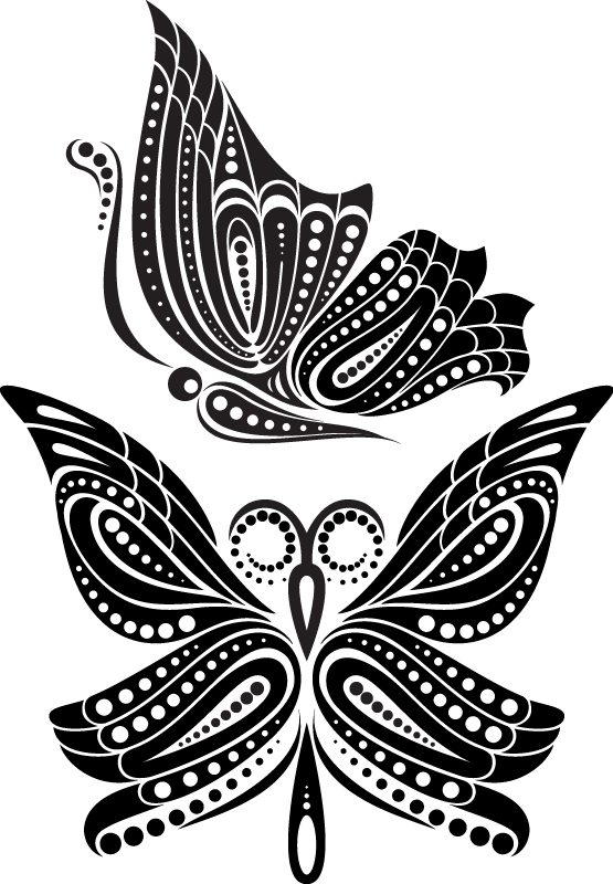Beautiful Butterfly Tattoo Artistic Pattern Free Vector