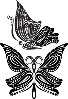 Beautiful Butterfly Tattoo Artistic Pattern Free Vector