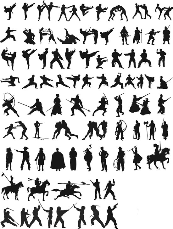 Fighting Silhouettes Free Vector