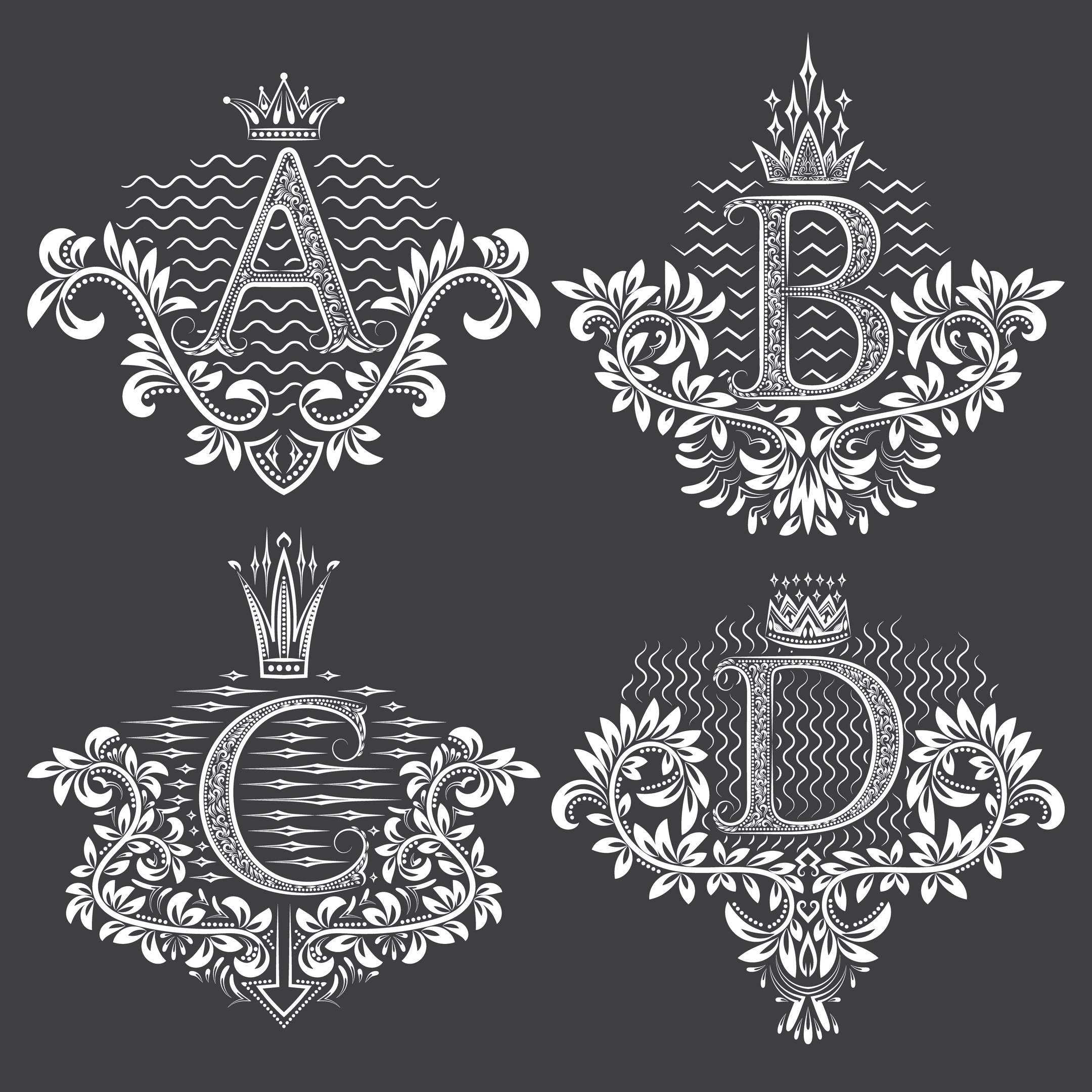 Beautiful Ornament Letters Free Vector