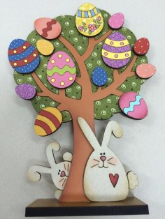 Laser Cut Easter Tree Bunnies Free Vector