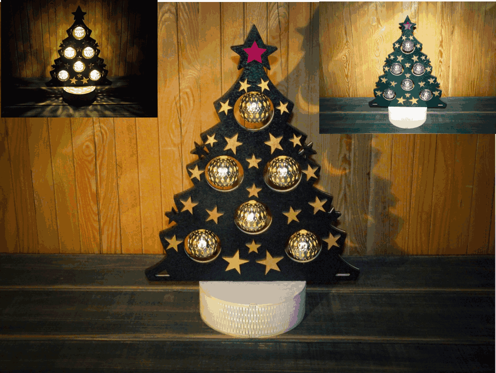 Laser Cut Christmas Tree Lamp Free Vector