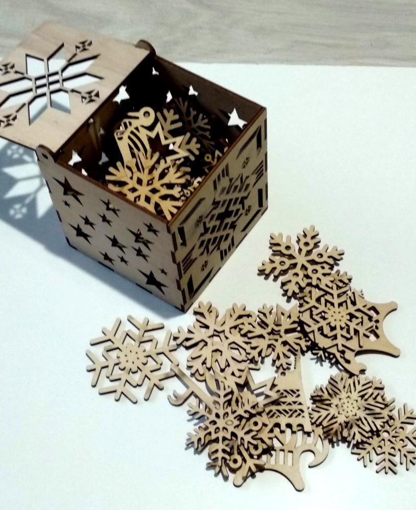 Laser Cut Snowflakes Christmas Tree Decoration Box Free Vector
